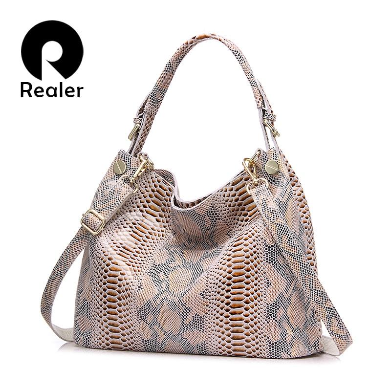REALER women genuine leather handbag fashion serpentine prints female large crossbody shoulder bags hobos totes ladies