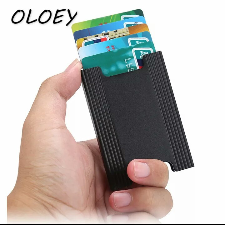 Aluminum RFID ID Card Holder Men Business Blocking Case Mini Wallet Antitheft Credit Card Cover Protector Pocket Purse# photo review