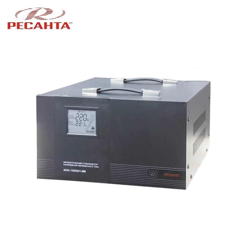 Single phase voltage stabilizer RESANTA ASN 10000/1 EM Voltage regulator Monophase Mains stabilizer Surge protect Power stab single phase voltage stabilizer resanta asn 500 1 em voltage regulator monophase mains stabilizer surge protect power stab