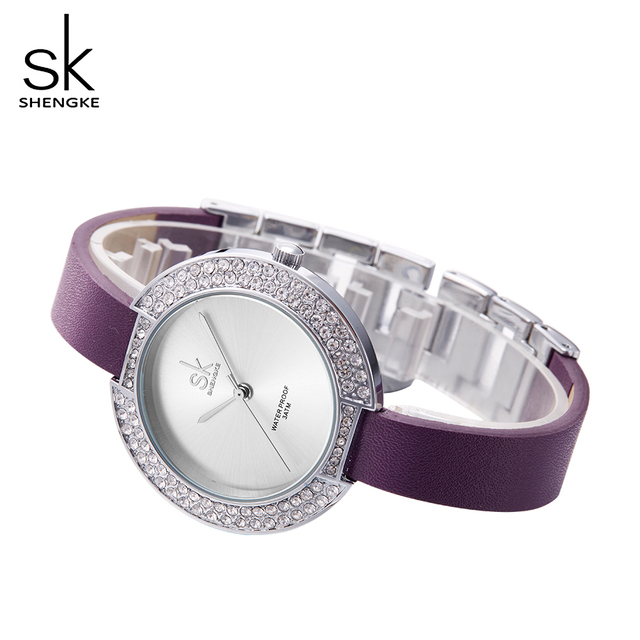 SK Women Watches New and Unique Dial Rhinestone Case Simple Dial Purple Leather Bracelet Female Quartz Movement Wristwatches