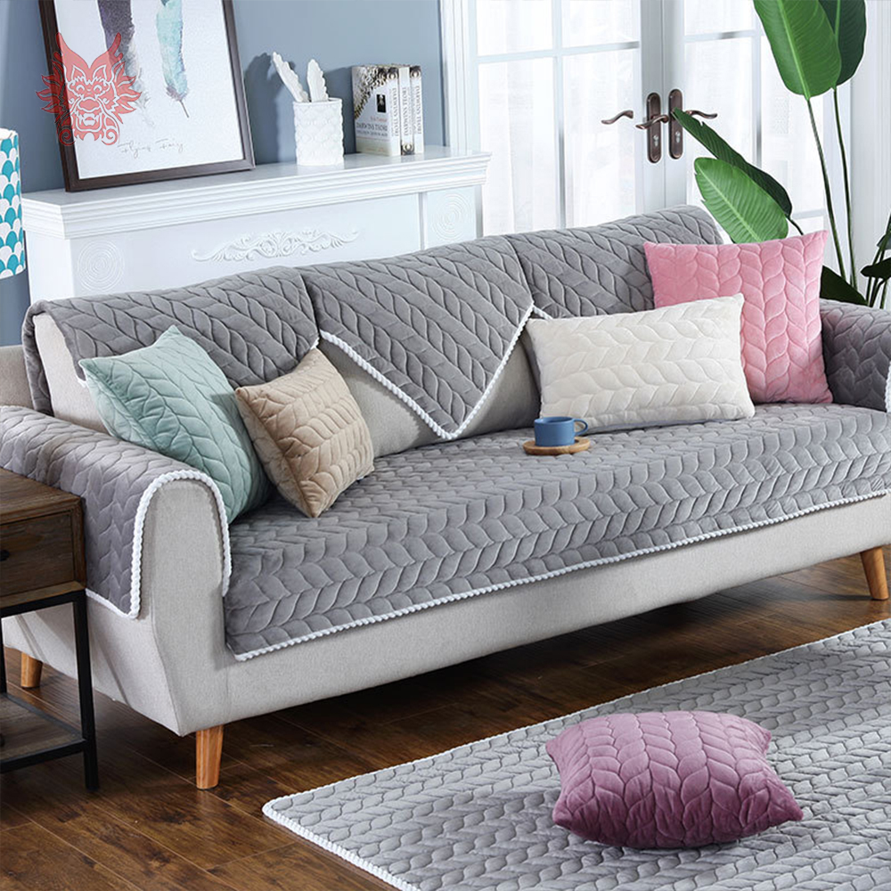 Leaves Quilted Winter Plush Sectional Sofa Cover