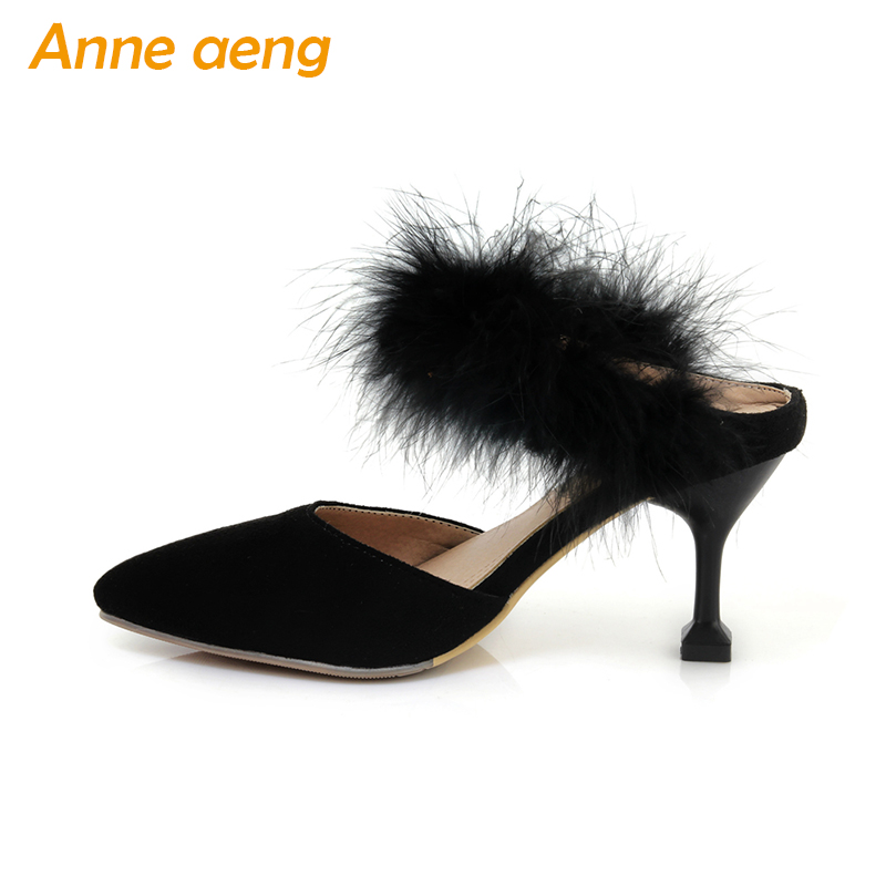 spring and summer women flippers thin high heel pointed toe fur sexy Mules ladies slides outdoor pink women shoes with belt