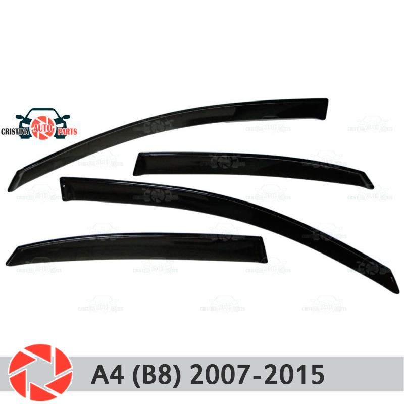 Window deflector for Audi A4 (B8) Sedan 2007-2015 rain deflector dirt protection car styling decoration accessories molding jgd brand new styling for audi a4 b7 led headlight 2005 2008 headlight bi xenon head lamp led drl car lights