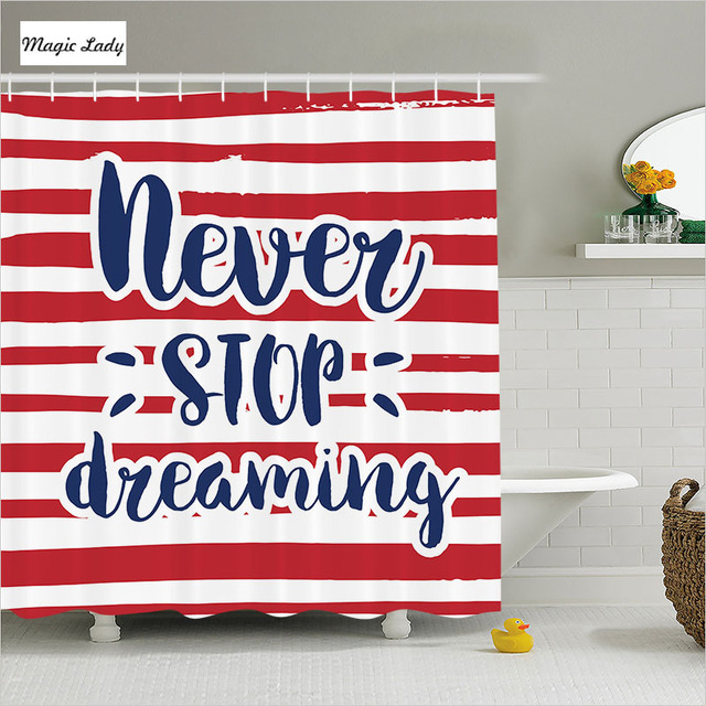 Shower Curtain Striped Bathroom Accessories Dreaming Quote Frame Stripes USA Office Decor Artsy Red 180