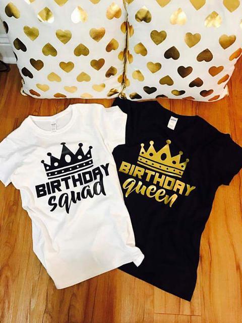 90379ef1a t shirt birthday party tshirt club clothing shirts birthday queen squad  girl women plus size funny