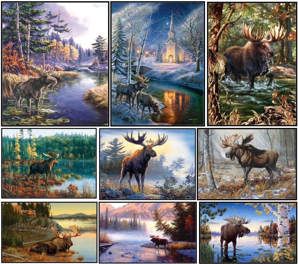 Embroidery Counted Cross Stitch Kits Needlework - Crafts 14 Ct DMC Color DIY Arts Handmade Decor - Moose Collection
