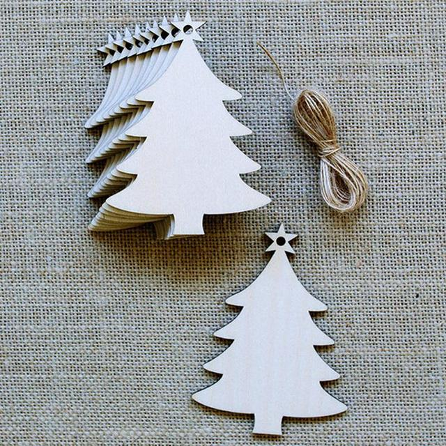 10Pcs Christmas Wood Chip Tree Ornaments Xmas Hanging Pendant Party Wedding Birthday Decoration Board Game Arts Crafts Gifts
