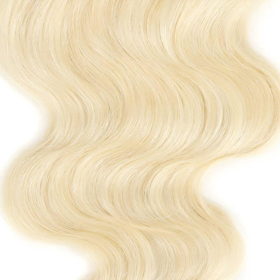 أنيق ريمي الدانتيل إغلاق شقراء 613 لون الحرة/الأوسط/ثلاثة جزء البرازيلي الجسم موجة 100% شعر طبيعي شحن مجاني
