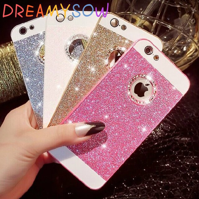 DREAMYSOW Luxury Funda Glitter Bling Diamond Back Cover For iPhone 7 6 6S  Plus X XS 8 Plus Hard Case for iPhone 5 5S SE Shell 2fb5b2083bf29