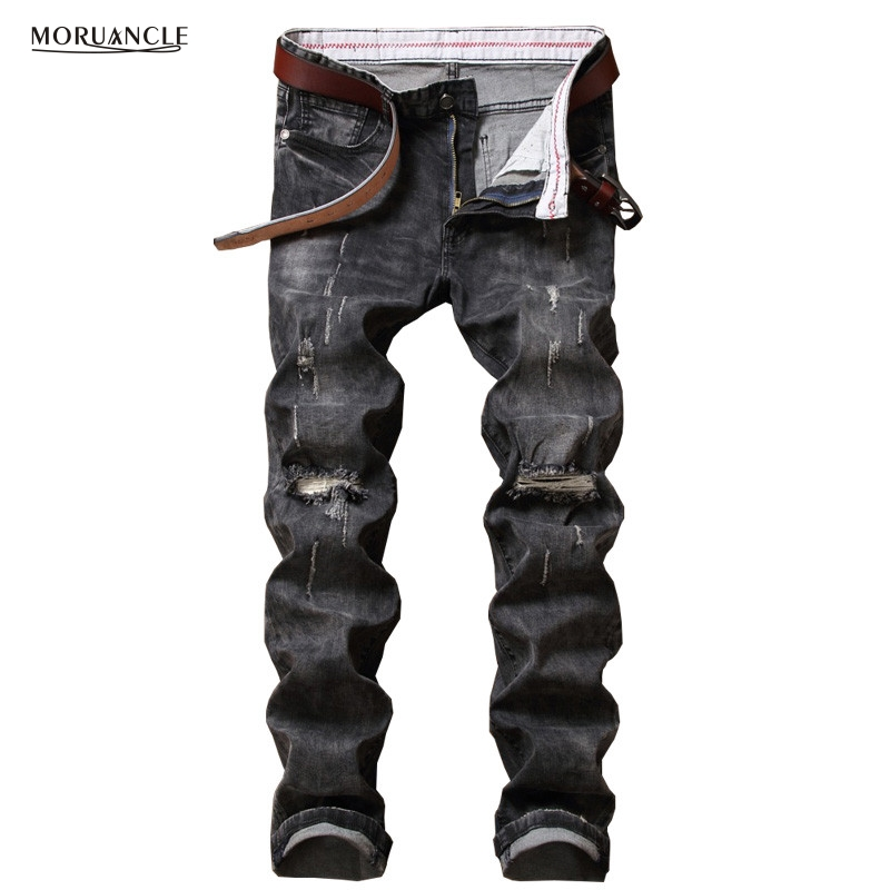 MORUANCLE Fashion Mens Ripped Jeans Patns Knee Holes Slim Fit Stretchy Distressed Denim Joggers For Male Gray Jean Trousers цена