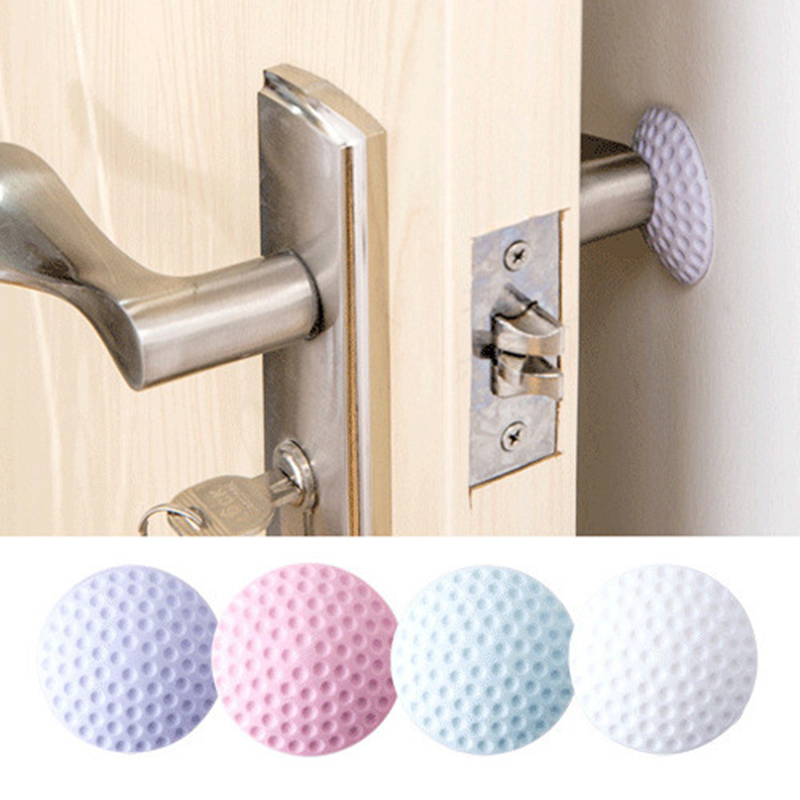 1PCS Wall Thickening Mute Door Stick Golf Styling Rubber Fender Handle Door Lock Protective Pad Protection Home Wall Stickers(China)