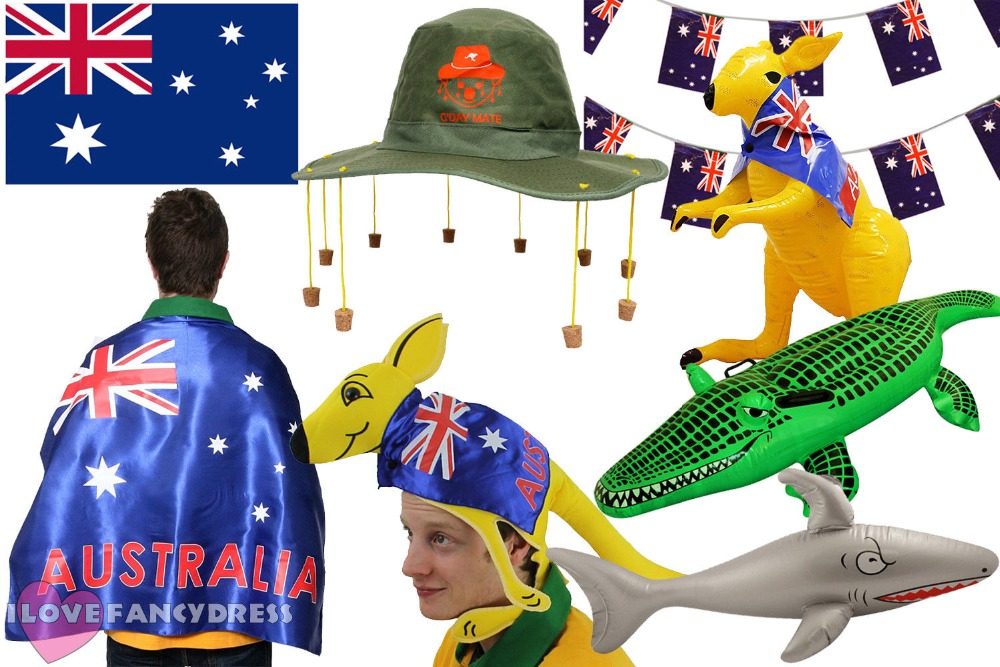 AUSTRALIA DAY RUGBY FOOTBALL PARTY CORK HAT FLAG BUNTING INFLATABLE KANGAROO SHARK CROCODILE AUSTRALIAN AUSSIE DUNDEE FANCYDRESS