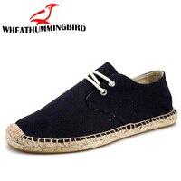 2018 Black Linen Hemp Wrap Mens Shoes Espadrilles Fisherman Men Canvas Shoes Breathable Men's Loafers boat driving shoes LA 29