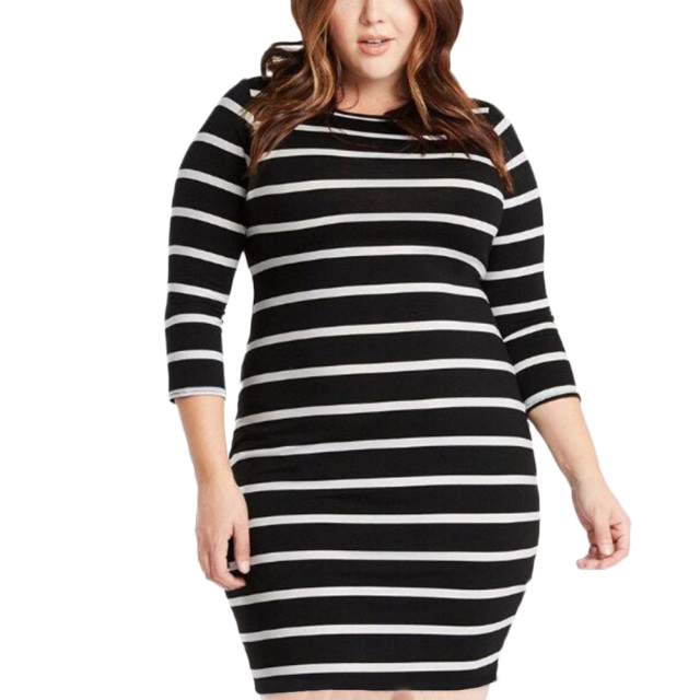 Large Size Autumn Summer Dress Big Size Black White Striped Dress ...