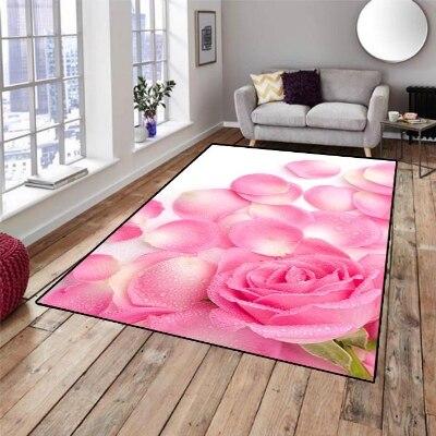 Else Pink Rose Floral Flowers Leaves Nature 3d Print Non Slip Microfiber Living Room Decorative Modern Washable Area Rug Mat