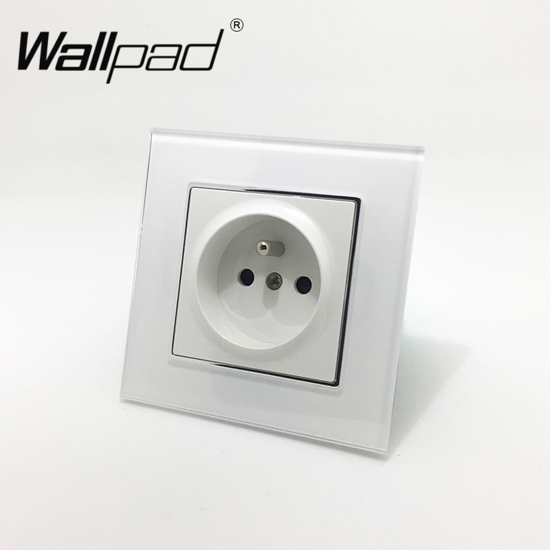 EU French Standard Socket with Claws Wallpad White Glass Panel Schuko French EU Style Wall Plug Power Outlet Socket with Hook divage кисть кабуки из натуральной щетины professional line