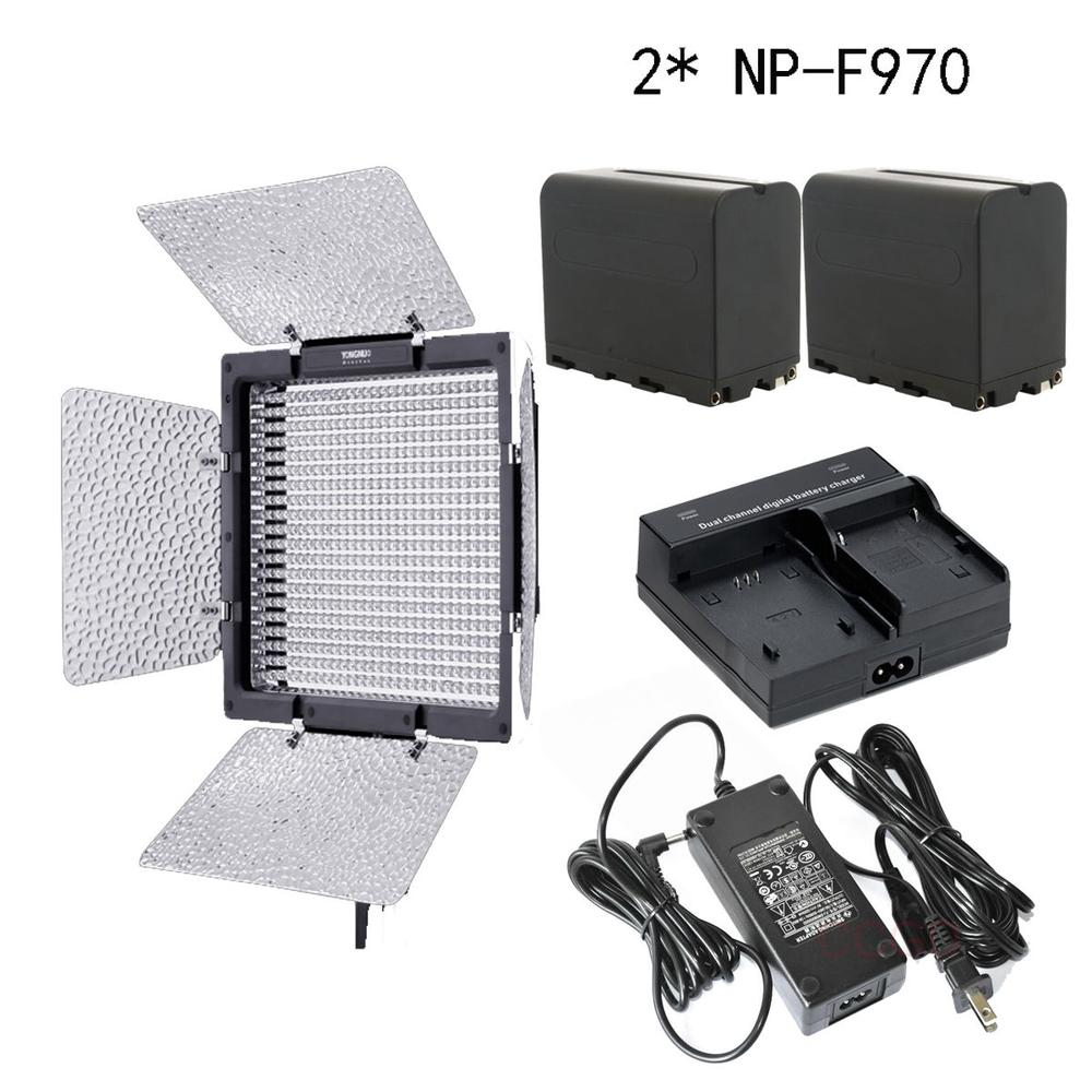 Yongnuo YN-600 3200-5500k LED Video Light ,AC Adapter, + 2 NP-F970 + Charger накамерный свет yongnuo led yn 160 iii 3200 5500k
