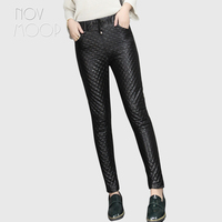Women black genuine leather real lambskin thick quilted slim pencil pants trousers elastic waist pantalon femme LT2552 FREE SHIP
