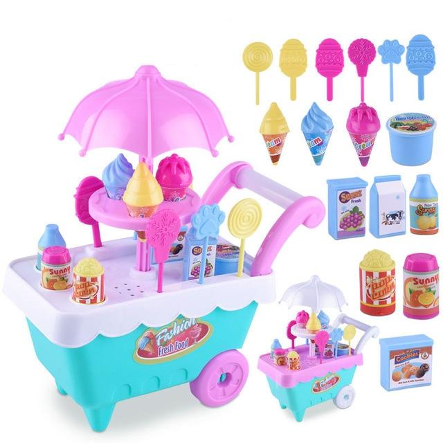 Toy Kitchen Sets Wood Top Island Eva2king Children Pretend Play Girls Cozinha De Brinquedo Ice Cream Groceries Toys Set For Kids Miniature Food