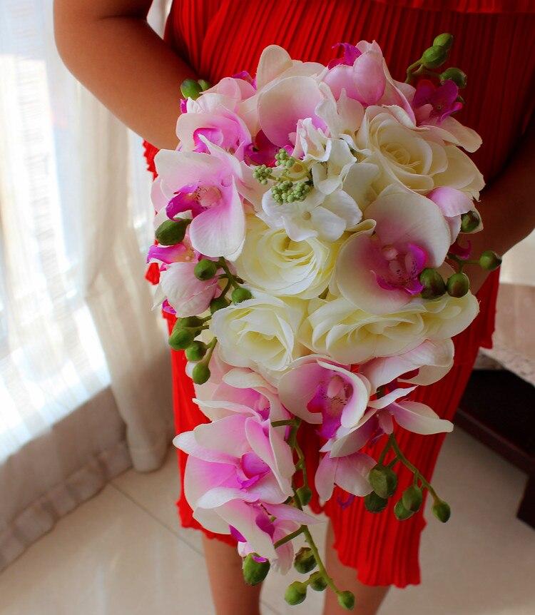 Ivoire Rose brève décoration en cascade Bouquet mariée larme Bouquets Beige violet artificiel Rose Alternative fleur de mariage