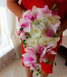 Ivory Pink Brief Decoration Cascading Bouquet Bride Teardrop Bouquets Beige Purple Artificial Rose Alternative Wedding Flower