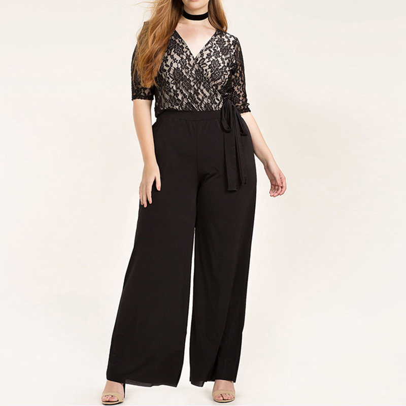 2018 Rompers 3XL 4XL 5XL 6XL Plus Size Clothing Women Summer Casual Jumpsuits Lace Patchwork Womens Wide Leg Overalls Playsuits