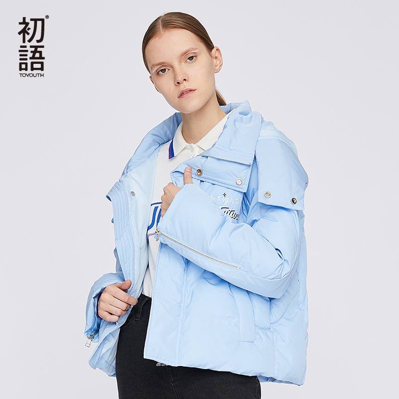 Toyouth Blue Short   Parka   Coats Women Winter Hooded Coat Warm Solid Casual   Parkas   Long Sleeve Women's Thick   Parkas   Mujer