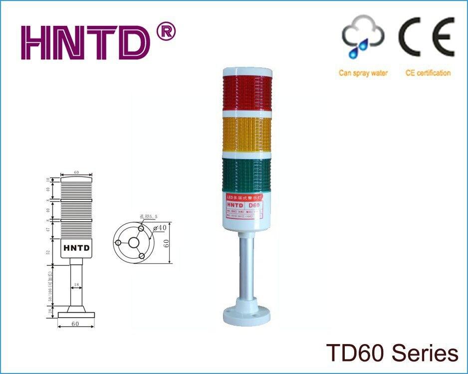 10pcs/lot HNTD 60 Rod Type 24V Often Bright 3 Layer With Buzzer LED Indicator Light CNC Machine Tool Working Warning Lamp