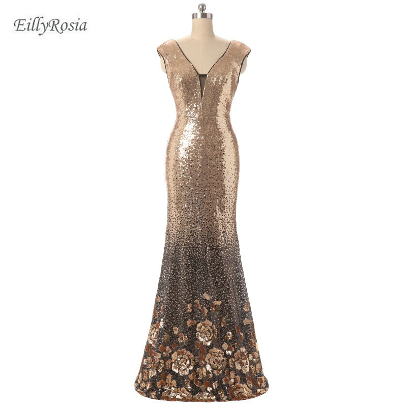 Champagne Gold Sequined   Bridesmaid     Dresses   Sparkly Gradient Formal Women   Dress   for Wedding Party robe demoiselle d'honneur 2018