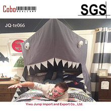 BIG SHARK Canopy Washed Cotton Cloth Round Dome Hanging Bed Curtains For Twin Queen Full Size Kids Reading Play Tents