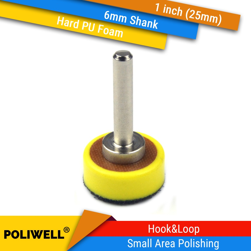 1 Inch (25mm) 6mm Mounted Shank PU Foam Hook&Loop Back-up Sanding Pad Power Tool Accessories For Small Area Accurately Polishing