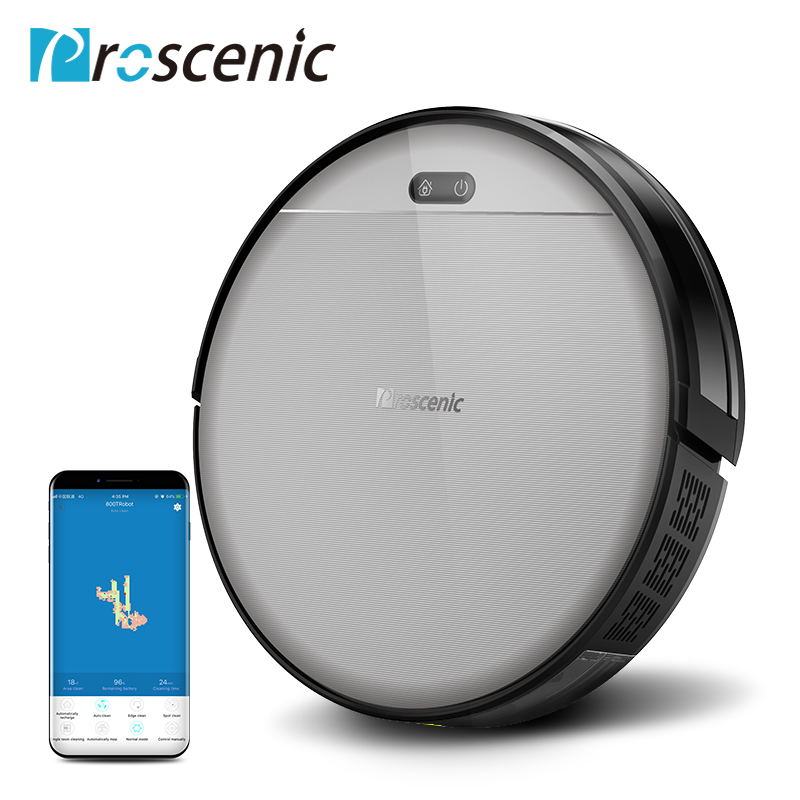 Proscenic 800T Robot Vacuum Cleaner Powerful Suction Large Dustbin With APP Control For Hard Floor Pet Hair Vacuum Cleaner