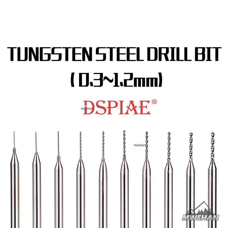 DSPIAE DB-01 Model Tungsten Steel Drill Bit 0.3-1.2MM Craft Tools Fine Accessory