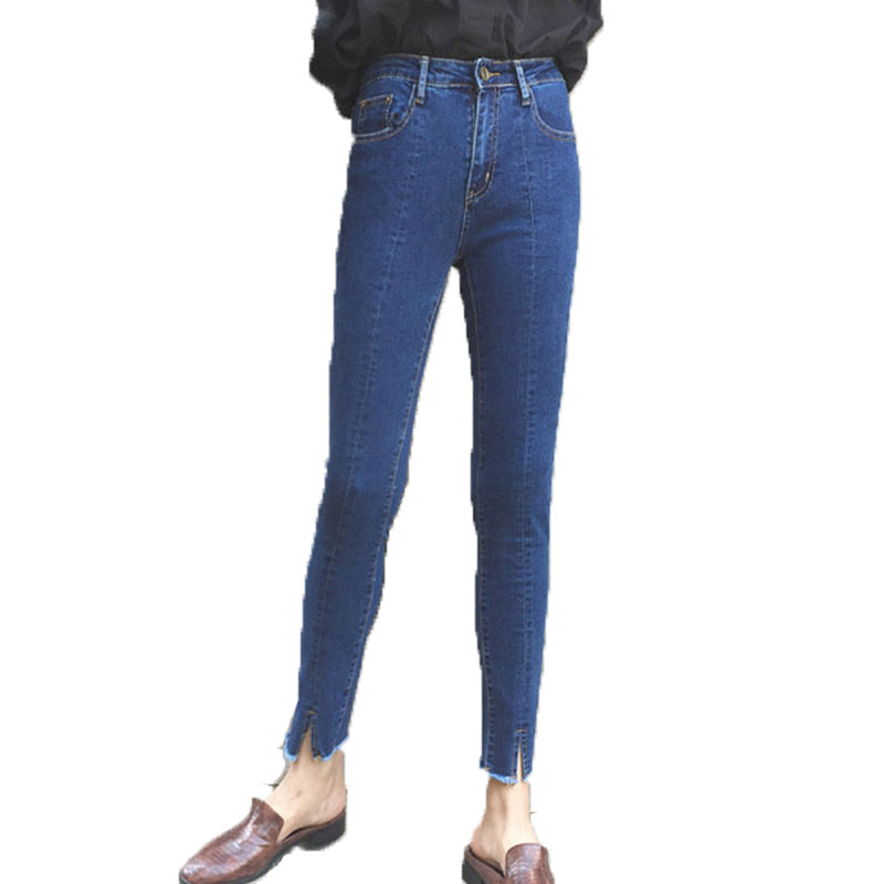 High Waist Jeans Women Female Trousers Bottom Furcal New Thin Slacks Elastic Pencil Pants Stretchy Tight Slim Skinny Jeans Woman new full color candy cotton pants korean women thin elastic jeans pencil pants woman s slim skinny sexy trousers size 25 31