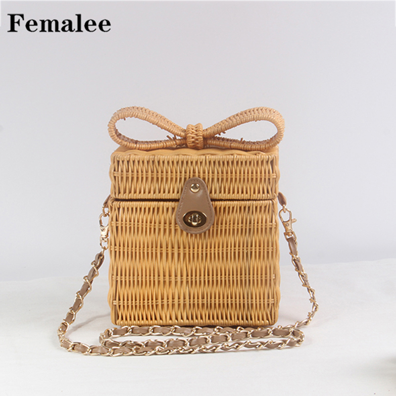 FEMALEE Bow Tie Shoulder Bags Knitting Hand woven Straw Beach Bag Pastoral Box Square Rattan Packing