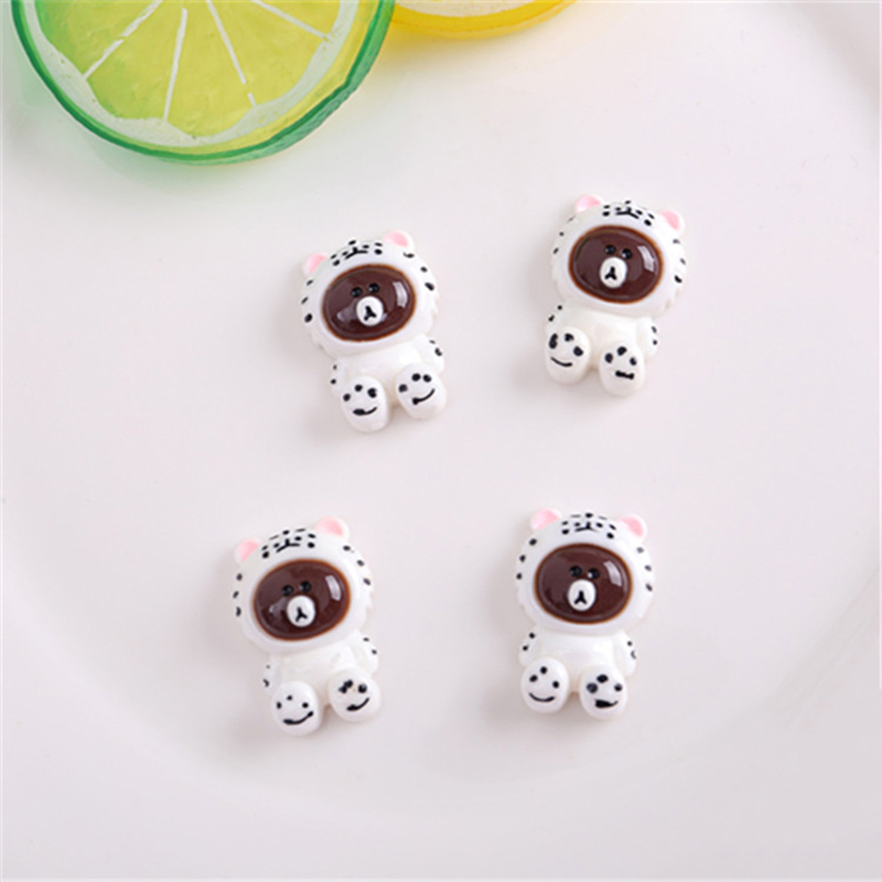 Happy Monkey 15pcs Mini Slime DIY Accessories Toy Brown Bear Figure Fluffy Clear Slime Supplies Filler Gift Toy For Kids Adult