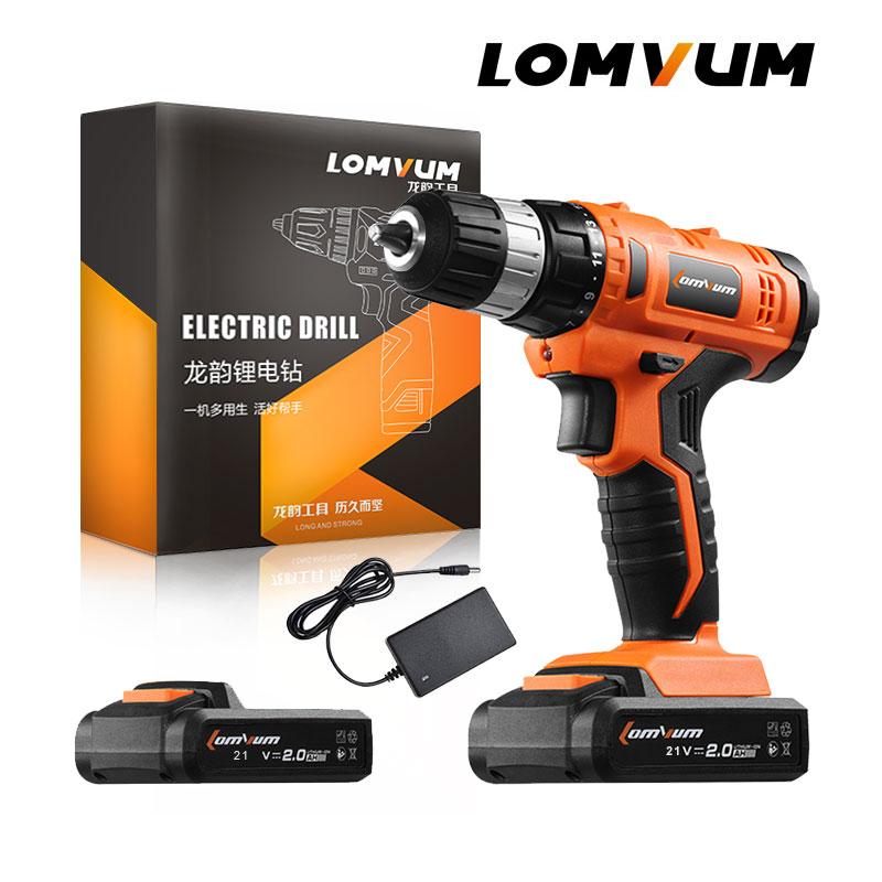 LOMVUM 21 V Drahtlose Nachladbare Lithium-/Li-Ion Batterie Elektrische Bohrer Haushalt Schraubendreher Variable Speed Power Tools