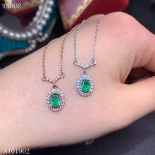 KJJEAXCMY boutique jewelry 925 sterling silver inlaid natural emerald female luxury pendant necklace support test jewelrypalace luxury pear cut 7 4ct created emerald solid 925 sterling silver pendant necklace 45cm chain for women 2018 hot