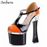 Sorbern Comfortable High Heels Womans Peep Toe T Strap Heels Strange Heel Us Size 11 Shoes Women Block Heels Orange Shiny Pumps