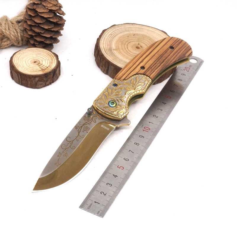Couteau pliant extérieur couteau tactique de survie lame 440C manche en bois Camping chasse couteau de poche sauvetage EDC Multi outils