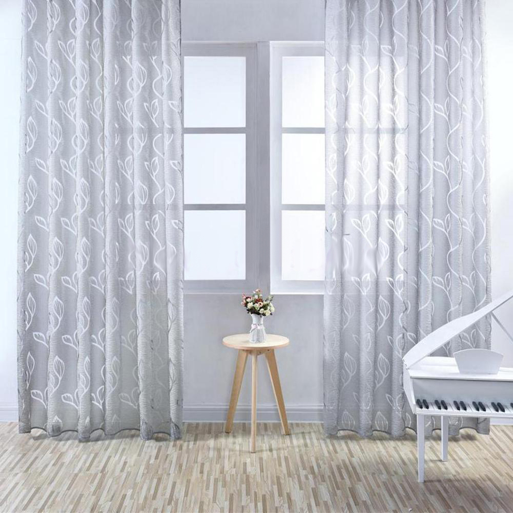 Sheer curtains with patterns - Bubble Leaf Pattern Window Sheer Curtain For Bedroom Living Room 100x270cm China Mainland