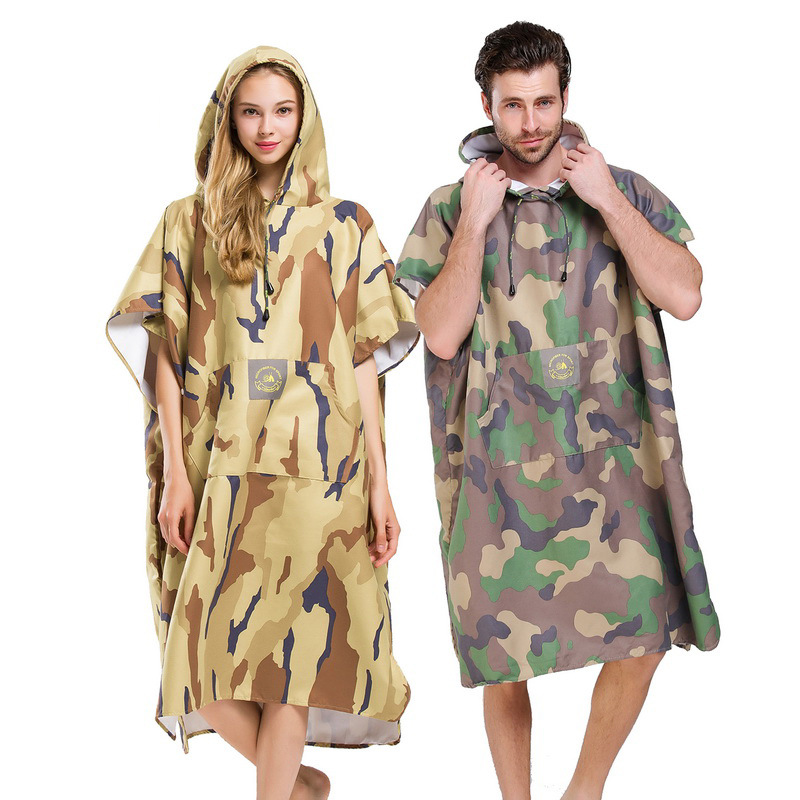 Camouflage Changing Robe Bath Towel Outdoor Adult Hooded Beach Towel Poncho Bathrobe Towels Women Man Bathrobe
