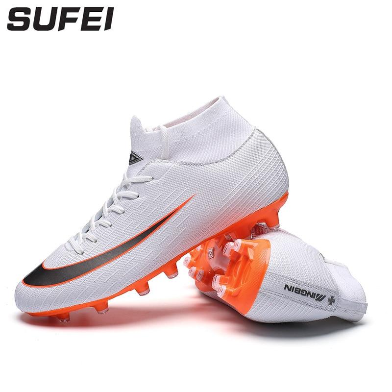 Genial Sufei 2018 Professionelle Fußball Stiefel Fg Spitze-up Fußball Schuhe Männer Lange Spike Outdoor Erwachsene Ausbildung Stiefel Socken Stollen Fußballschuhe