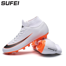 Купить с кэшбэком sufei 2018 Professional Football Boots FG Lace-up Soccer Shoes Men Long Spike Outdoor Adult Training Boots Socks Cleats