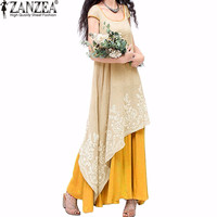 ZANZEA Vintage Embroidery Floral Summer Beach Short Sleeve Kaftan Vestidos 2017 Women Party Maxi Long Dress