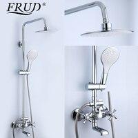FRUD 1 Set Bathtub Shower Bathroom Bath Rainfall Restroom Faucet Shower Set Lotus Shaped Shower Head