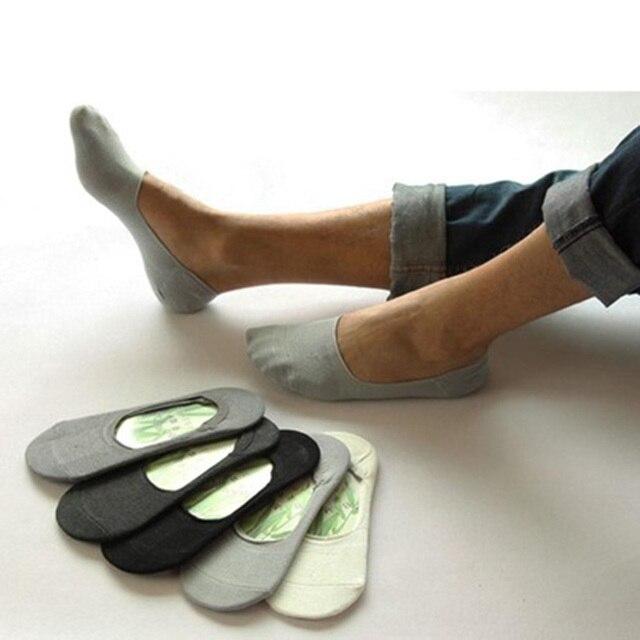074d8c702 1 Par chinelos meias de fibra de Bambu Não-slip Silicone dos homens  Invisíveis Meias