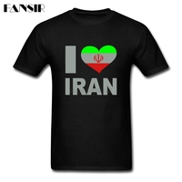 Homme Shirt Male Custom Cotton Short Sleeve I Love Iran Flag Pattern Family Clothes Men T