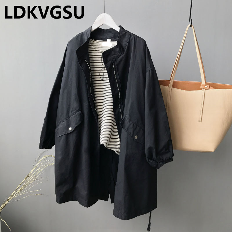 Long Windbreaker Coat Female 2018 Spring Autumn New BF Wind Drawstring Women Cotton   Trench   Outerwear Loose Large Size Is205