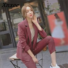 Xnxee Work Fashion Blazer Pant Suits 2 Pcs Set Women Double Breasted Striped Jacket & Trouser Office Lady Suit Feminino 68181